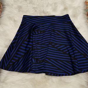 Skater Skirt Cobalt Blue and Black Stripped Print